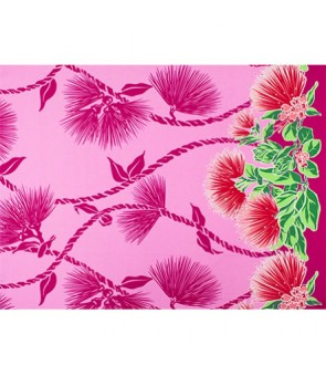 Hawaiian Poly Cotton Fabric LW-19-727 [ Lehua Lei Border ] Pink