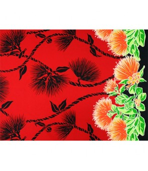 Hawaiian Poly Cotton Fabric LW-19-727 [ Lehua Lei Border ] Red