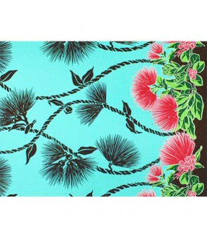 Hawaiian Poly Cotton Fabric LW-19-727 [ Lehua Lei Border ] Seagreen