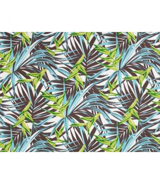 Hawaiian Poly Cotton Fabric LW-19-731 [ Heliconia / Palm Leaf ] Brown Turquoise