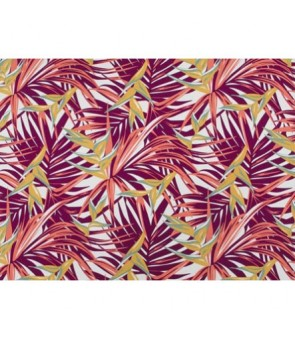 Hawaiian Poly Cotton Fabric LW-19-731 [ Heliconia / Palm Leaf ] Burgundy