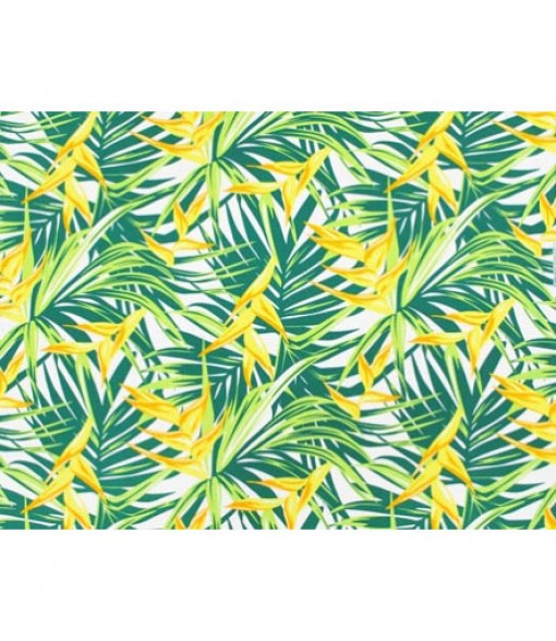 Hawaiian Poly Cotton Fabric LW-19-731 [ Heliconia / Palm Leaf ] Green