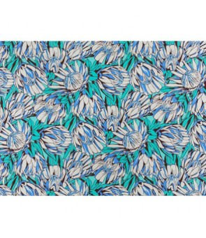 Hawaiian Poly Cotton Fabric LW-19-733 [ Protea Flower ] Turquoise Cream