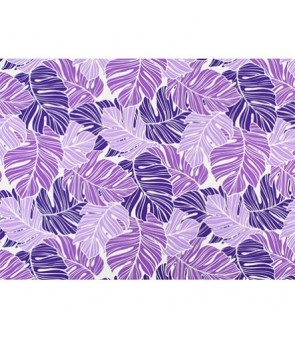 Hawaiian Poly Cotton Fabric LW-19-734 [ All Over Monstera ] Purple Natural