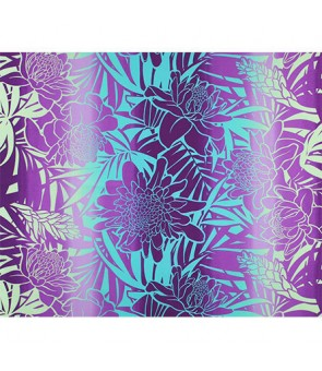 Hawaiian Poly Cotton Fabric LW-19-747 [ Ginger ] Mint Purple