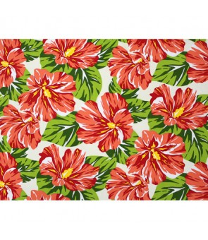 Hawaiian Poly Cotton Fabric LW-20-752 [ Hibiscus Blossom ] Natural