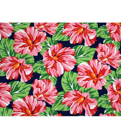 Hawaiian Poly Cotton Fabric LW-20-752 [ Hibiscus Blossom ] Navy