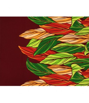Hawaiian Poly Cotton Fabric LW-20-756 [ Color Ti Leaf ] Burgundy