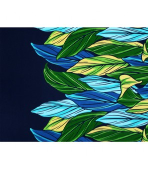 Hawaiian Poly Cotton Fabric LW-20-756 [ Color Ti Leaf ] Navy
