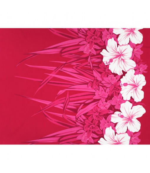 Hawaiian Poly Cotton Fabric LW-20-758 [ Hibiscus & Orchid Border ] Pink