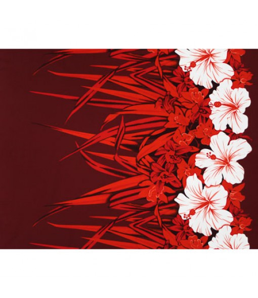 Hawaiian Poly Cotton Fabric LW-20-758 [ Hibiscus & Orchid Border ] Red