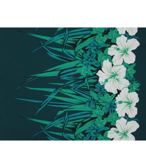 Hawaiian Poly Cotton Fabric LW-20-758 [ Hibiscus & Orchid Border ] Teal