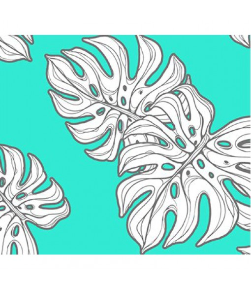 Hawaiian Poly Cotton Fabric CHOE-330 [ Monstera ] Teal