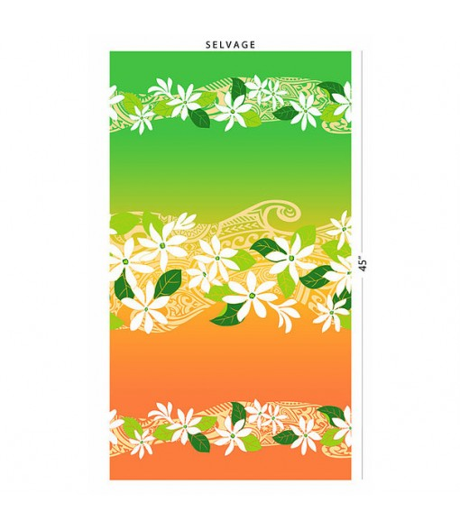Hawaiian Poly Cotton Fabric FK-018 [ Tiare & Tapa Gradation ] Green