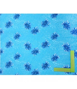 Hawaiian Poly Cotton Fabric HH-330 [ Hibiscus/Plumeria ] Blue