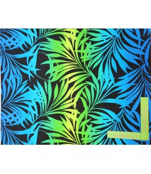 Hawaiian Poly Cotton Fabric HH-332 [ Gradation Fern Panel ] Black Blue