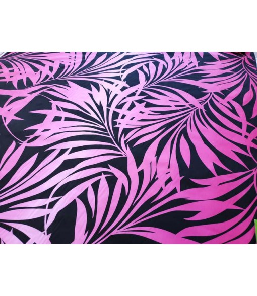 Hawaiian Poly Cotton Fabric HH-332 [ Gradation Fern Panel ] Black Pink