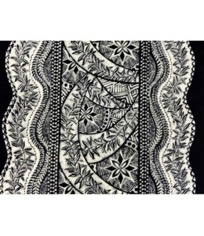 Hawaiian Poly Cotton Fabric QSQ-11-711 [ Panel Tapa ] Black Cream