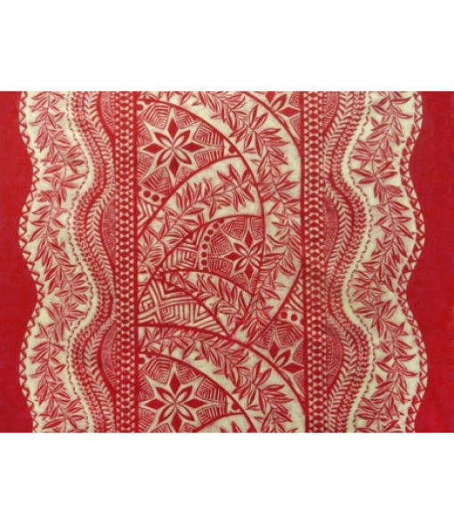 Hawaiian Poly Cotton Fabric QSQ-11-711 [ Panel Tapa ] Red Cream