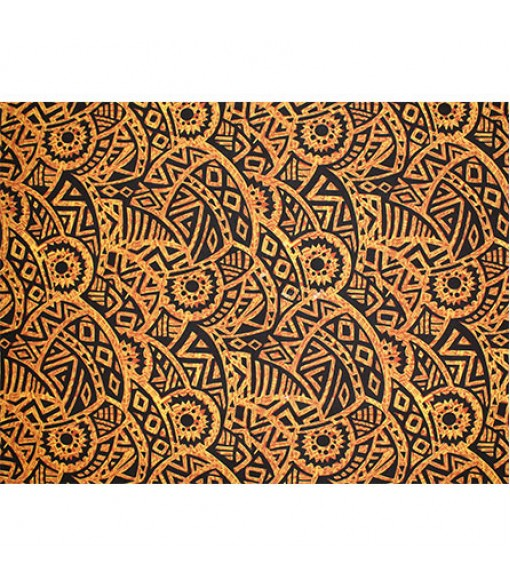 Hawaiian Poly Cotton Fabric QSQ-14-87 [ Puff Tapa ] Brown Orange