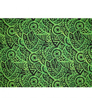 Hawaiian Poly Cotton Fabric QSQ-14-87 [ Puff Tapa ] Green Black