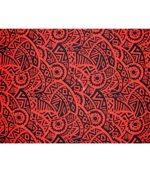 Hawaiian Poly Cotton Fabric QSQ-14-87 [ Puff Tapa ] Red Black