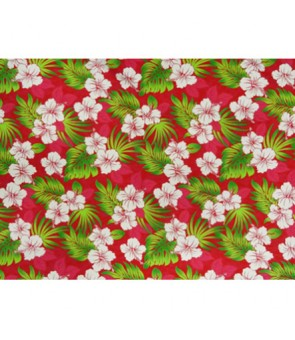 Hawaiian Poly Cotton Fabric QSQ-16-922 [ Hibiscus Leaf ] Red