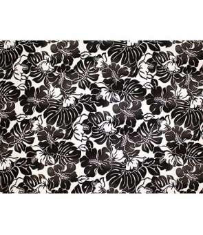 Hawaiian Poly Cotton Fabric TKJ-11-685 [ Hibiscus Monstera Leaf ] Black