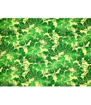 Hawaiian Poly Cotton Fabric TKJ-11-685 [ Hibiscus Monstera Leaf ] Green