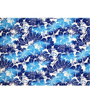 Hawaiian Poly Cotton Fabric TKJ-11-685 [ Hibiscus Monstera Leaf ] Navy