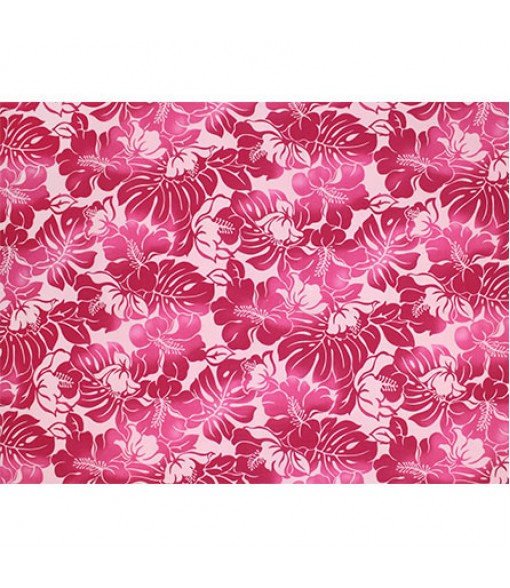 Hawaiian Poly Cotton Fabric TKJ-11-685 [ Hibiscus Monstera Leaf ] Pink