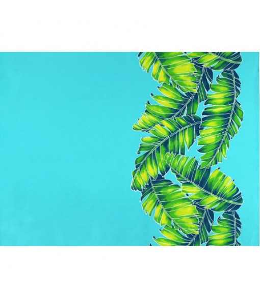 Hawaiian Poly Cotton Fabric TX-19-35 [ Banana Leaf Border ] Aqua