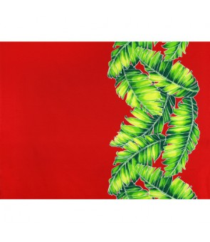 Hawaiian Poly Cotton Fabric TX-19-35 [ Banana Leaf Border ] Red