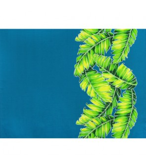 Hawaiian Poly Cotton Fabric TX-19-35 [ Banana Leaf Border ] Teal