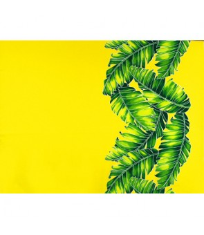 Hawaiian Poly Cotton Fabric TX-19-35 [ Banana Leaf Border ] Yellow