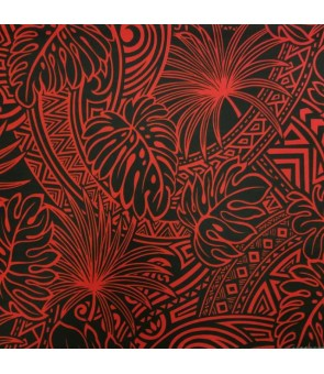 Hawaiian Poly Cotton Fabric ZGQ-17-16 [ Leaf Tapa ] Black