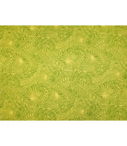 Hawaiian Poly Cotton Fabric ZGQ-17-16 [ Leaf Tapa ] Green