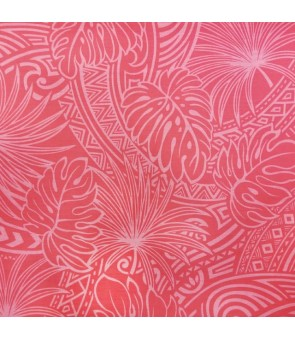 Hawaiian Poly Cotton Fabric ZGQ-17-16 [ Leaf Tapa ] Pink