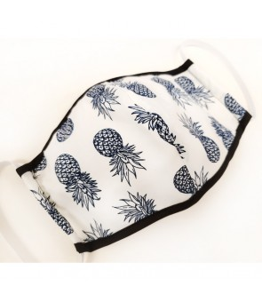 Hawaiian Unisex Face Mask with Filter Pocket [ Pineapple ] White