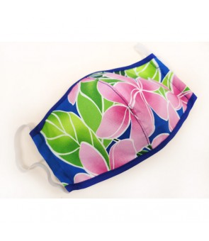 Hawaiian Unisex Face Mask with Filter Pocket [ Pink Plumeria ] Blue