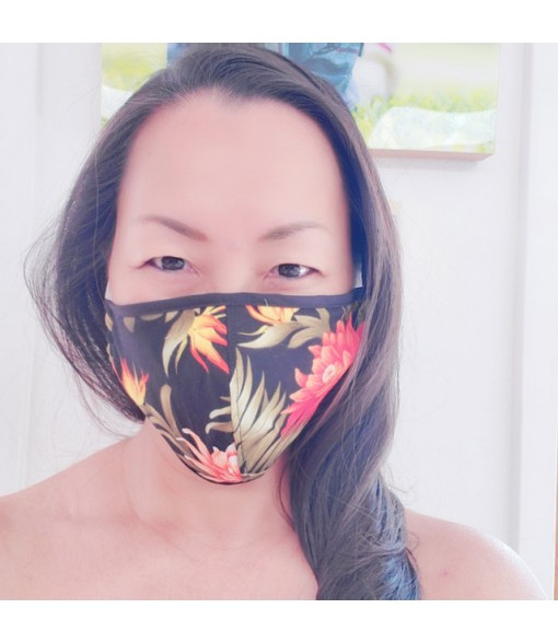 Hawaiian Unisex Face Mask with Filter Pocket [ Tropical Flower ] Black