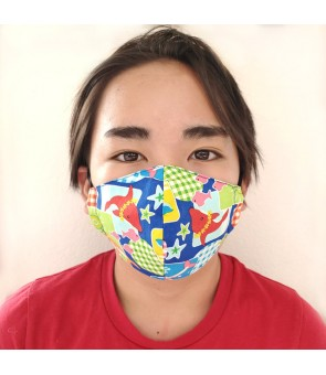 Hawaiian Kid's Face Mask [ Dolphin ] Blue