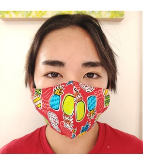 Hawaiian Kid's Face Mask [ Pineapple Color ] Red