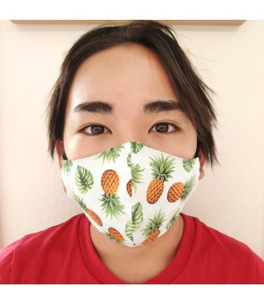 Hawaiian Kid's Face Mask [ Tropical Pineapple ] Blue