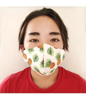 Hawaiian Kid's Face Mask [ Tropical Pineapple ] White