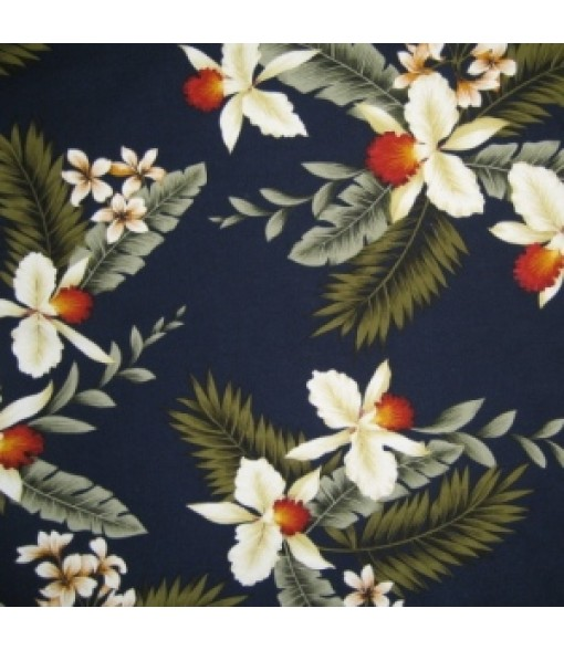 Hawaiian Rayon Fabric [ Hawaiian Orchid ] Navy