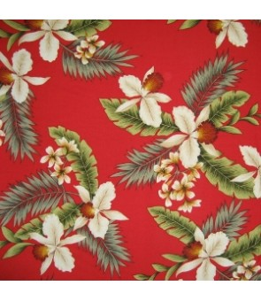 Hawaiian Rayon Fabric [ Hawaiian Orchid ] Red