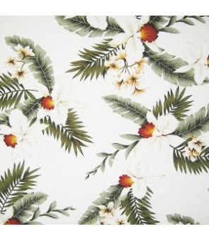 Hawaiian Rayon Fabric [ Hawaiian Orchid ] White