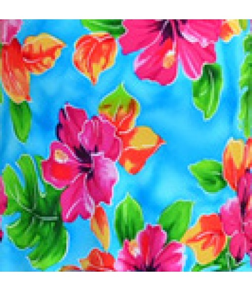 Hawaiian Rayon Fabric [ Hibiscus Watercolor ] Blue