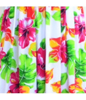 Hawaiian Rayon Fabric [ Hibiscus Watercolor ] White